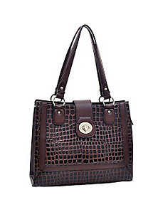 Women's Boxy Fashion Patent Croco Tote by Dasein