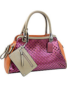 Two-tone Metallic Contrast Satchel Bag with Mesh F by Dasein