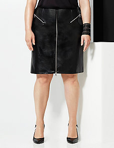 6th & Lane faux leather zipped flounce skirt