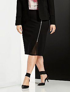 6th & Lane zipped pencil skirt with chiffon