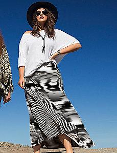 Wave stripe maxi skirt