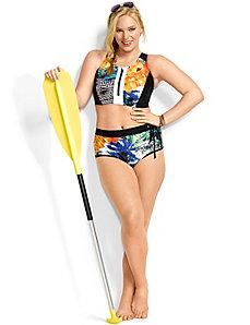 Mixed print bikini top