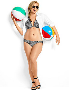 Tribal zebra macrame plunge bikini top