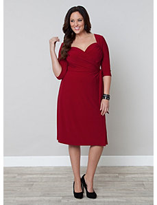 Sweetheart Knit Wrap Dress by Kiyonna