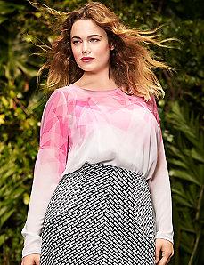 Pink print blouse by Lela Rose