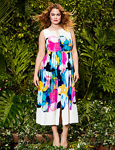 Watercolor printed dress by Lela Rose