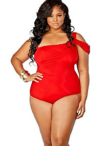Tahiti One Shoulder Swimsuit w/ Removable Strap - Red by Monif C.
