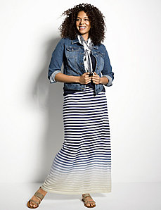 Ombre stripe sweater maxi skirt