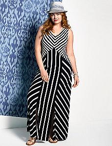 Spliced stripe maxi dress