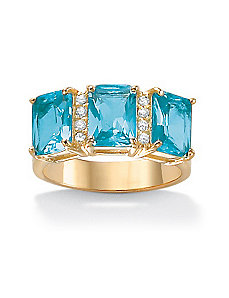 Emerald-Cut Birthstone & Cubic Zirconia Ring by PalmBeach Jewelry
