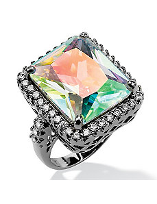 Aurora Borealis & White Cubic Zirconia Ring by PalmBeach Jewelry