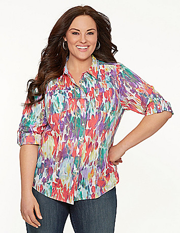 Printed casual buttondown shirt