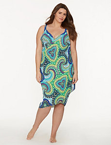 Medallion print pareo swim cover-up