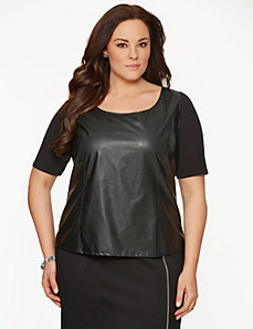 Lane Collection faux leather front top