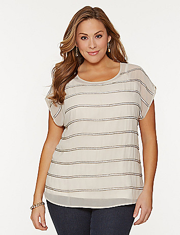 Full Figure Sequin Striped Blouse by Lane Bryant