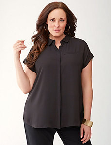 Lane Collection asymmetric zip top