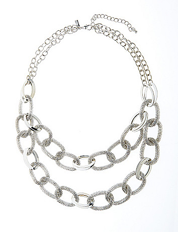 Nested mesh link necklace by Lane Bryant
