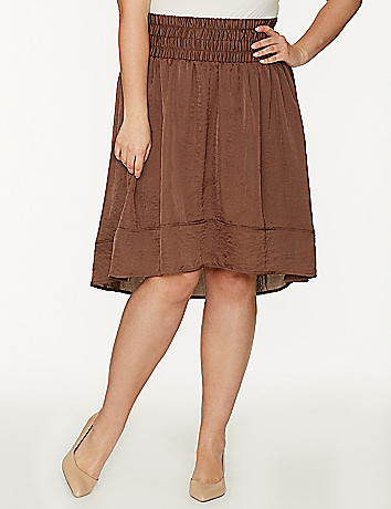 Crinkled hi lo skirt