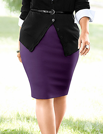 Zipper trim ponte pencil skirt