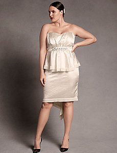 Satin Bustier Strapless Dress by Isabel Toledo