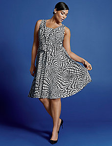Op Art sleeveless V dress by Isabel Toledo