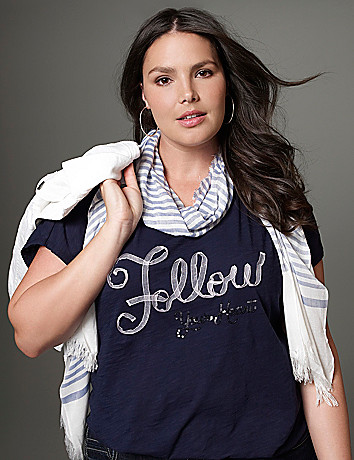 Plus Size Sequin Ribbon Tee by Lane Bryant
