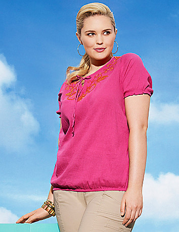 Embroidered peasant top by Lane Bryant