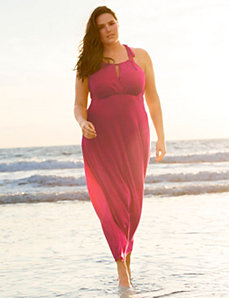 Surplice maxi cover up dress