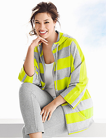 Plus Size Draped Sleeve Striped Hoodie by Lane Bryant