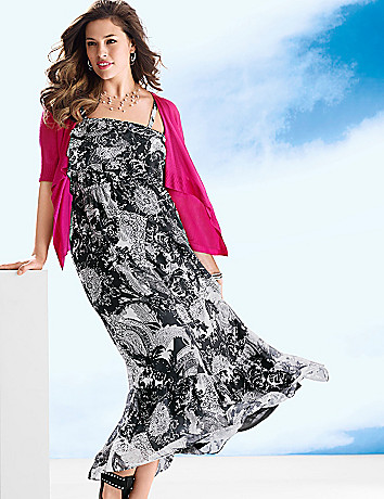 Ruffled Paisley Maxi Dress by Lane Bryant