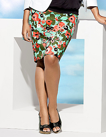 Floral sateen pencil skirt