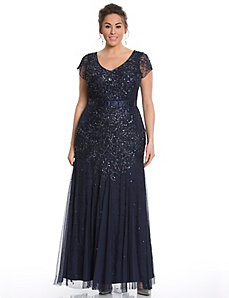 Beaded cap sleeve gown by Adrianna Papell