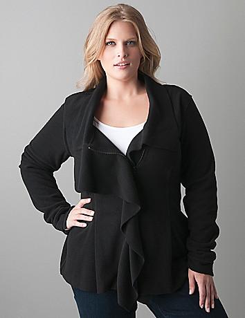 Plus sized Ruffle front fleece jacket by Lane Bryant
