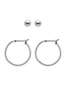 Silvertone earrings duo by Lane Bryant