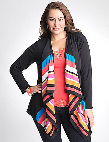 Full figure Striped Open Cardigan by Lane Bryant