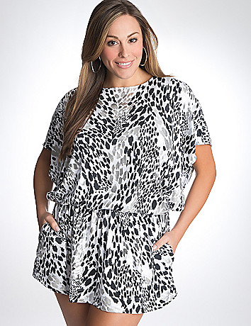 Foil animal print swim cover up