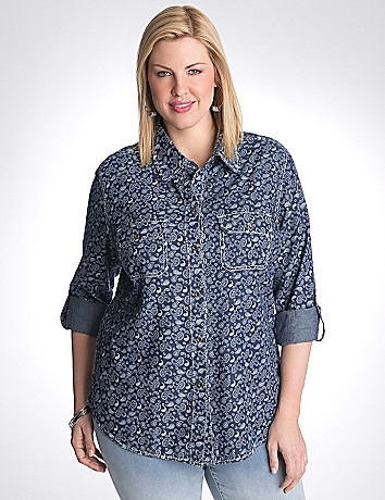 Full Figure Paisley Shirt by Seven7