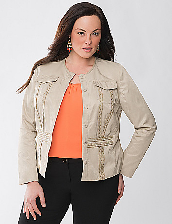 Leather Trim Cropped Jacket by Lane Bryant