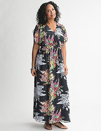 Short Sleeve Floral Maxi Dress by Lane Bryant