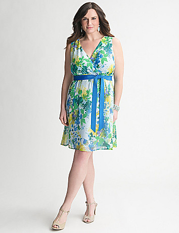 Floral Chiffon Dress by Lane Bryant