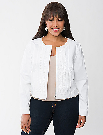 Ruffled White Denim Jacket