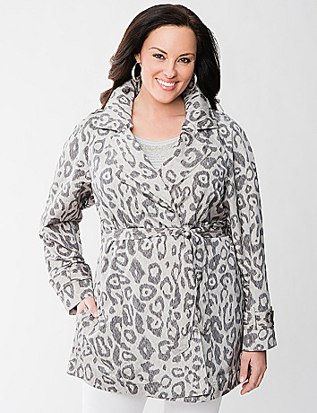 Womens Animal Print Trench Coat