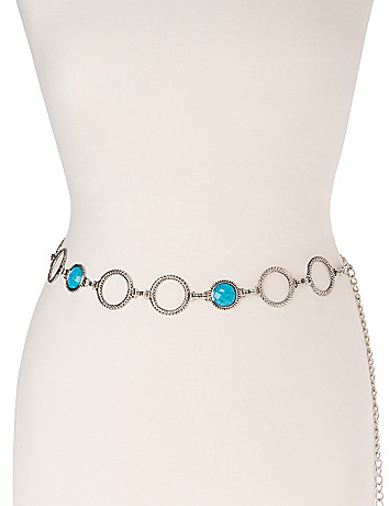 Faux turquoise chain belt by Lane Bryant