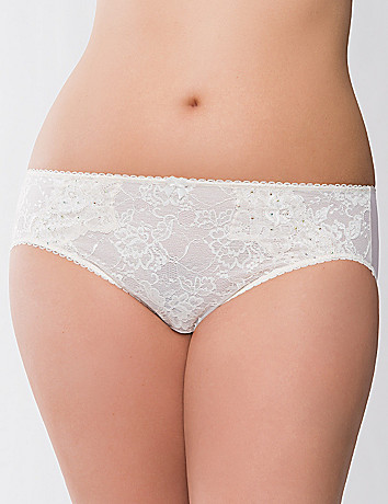 Embellished lace hipster panty