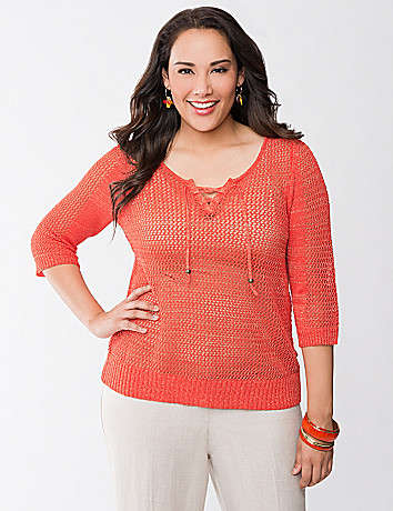 Tie front shimmer sweater