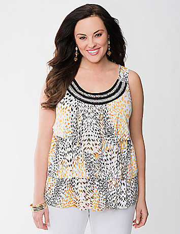 Animal print tiered tank by Lane Bryant