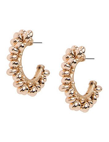 Lane Collection beaded half hoop earrings