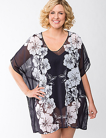 Plus Size Floral Chiffon Swim Cover Up by Lane Bryant
