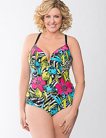 Lace up floral maillot swim suit by Cacique