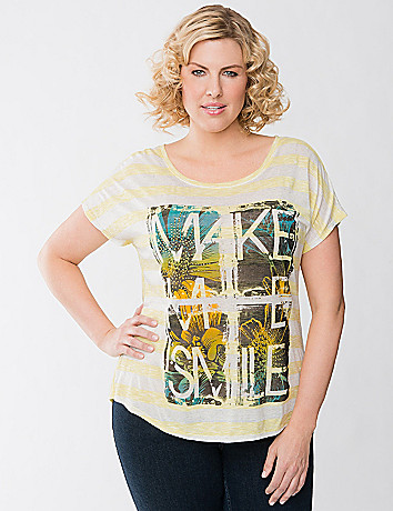 Smile striped tee by Lane Bryant